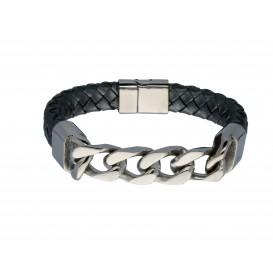 Slate 404.0370.20 Armband staal/leder zilverkleurig-grijs 20 cm