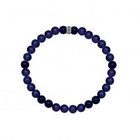 Kaliber 7KB-0058M - Heren armband met stalen elementen - Sodaliet natuursteen 6 mm - maat M (18 cm) - blauw / zilverkleurig
