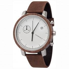 Kerbholz 4251240403960 Horloge Staal/Hout/Leder Fritz Walnut-Tobacco 46 mm