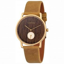 Kerbholz 4251240404165 Horloge Staal/Hout/Leder Frida Walnut-Mustard 36 mm