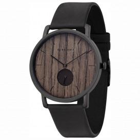 Kerbholz 4251240404226 Horloge Staal/Hout/Leder Fritz Darkwood-Midnight Black 40 mm