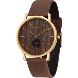 Kerbholz 4251240404233 Horloge Staal/Hout/Leder Fritz Walnut-Tabacco 40 mm