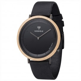 Kerbholz 4251240407418 Horloge Hout-Leder Slim Walnut-Grey 40 mm
