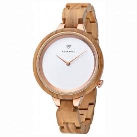 Kerbholz 4251240409948 Horloge Staal-Hout Hinze Olivewood 38 mm