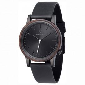 Kerbholz 4251240410074 Horloge Hout/Leder Walter Sandalwood-Midnightblack 40 mm