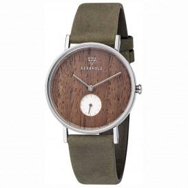 Kerbholz 4251240410128 Horloge Staal/Hout/Leder Frida Walnut-Olive 36 mm