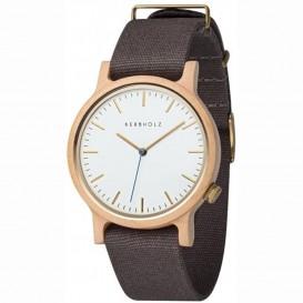 Kerbholz 4251240411361 Horloge Hout/Leder Heinrich Walnut-Slate Blue 40 mm