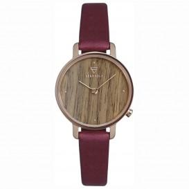 Kerbholz 4251240411675 Horloge Hout/Leder Emma Walnut-Berry 30 mm