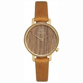 Kerbholz 4251240411682 Horloge Hout/Leder Emma Walnut-Mustard 30 mm