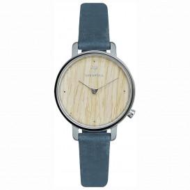 Kerbholz 4251240411699 Horloge Staal/Hout/Leder Emma Oak-Navy 30 mm