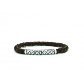Silk Jewellery 427BRN Armband zilver en leer 19 cm