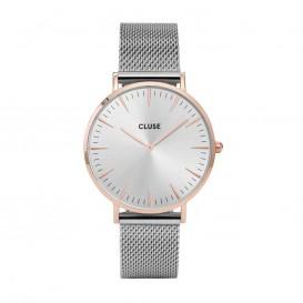 CLUSE CL18116 Horloge LA Boheme Mesh rose- en zilverkleurig