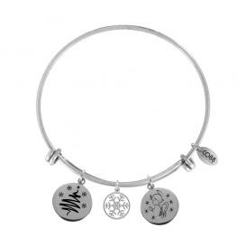 CO88 Collection 8CB-16001 - Stalen bangle met bedels - kerstboom, sneew en engel - one-size - zilverkleurig / zwart