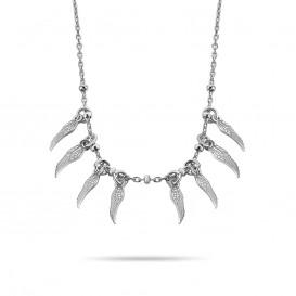 New Bling 9NB 0312 Zilveren Collier met Veren - lengte 38 + 5 cm - Zilverkleurig