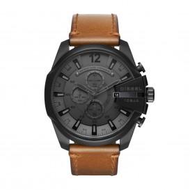 Diesel Horloge Chronograaf Mega Chief staal/leder zwart-cognac 59 mm DZ4463