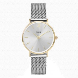 CLUSE CL30024 Minuit Mesh Gold Silver horloge