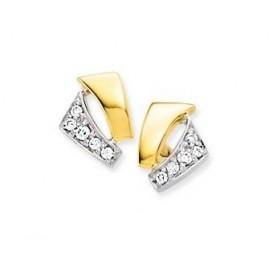 Glow Gouden Oorbellen bicolor met zirconia 206.0436.00