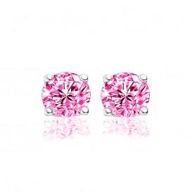 New Bling 9NB-0019 - Zilveren oorstekers - zirkonia rond 6 mm - zilverkleurig / roze