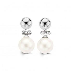 Ti Sento 7680PW Zilveren oorbellen met parel en zirkonia
