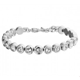 TFT Armband Staal Strass 7 mm 17 + 3 cm