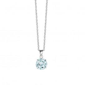 New Bling 9NB-0018 - Collier zilver met zirconia 10 mm 40 + 5 cm zilverkleurig-blauw