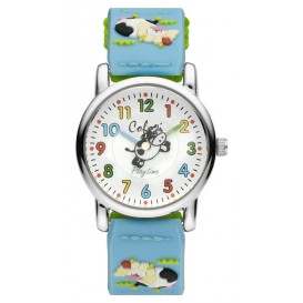 Colori 5-CLK067 Kinderhorloge Nylon band Blauw, Groen  Koe 28 mm