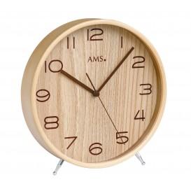 AMS 5118 Tafelklok zendergestuurd hout en mineraalglas 22 cm ø