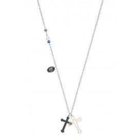 Swarovski Ketting Duo Mini Cross zilver-en rosékleurig 5396881