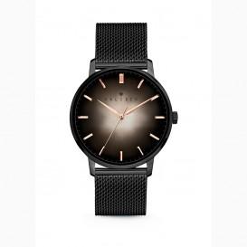 Kaliber 7KW 0009 Stalen Horloge met Mesh Band - Ø40 mm - Zwart / Rosékleurig