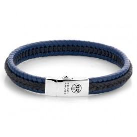 Rebel and RoseRR-L0066-S-M Armband Dual Twisted Black-Blue 19,5 cm