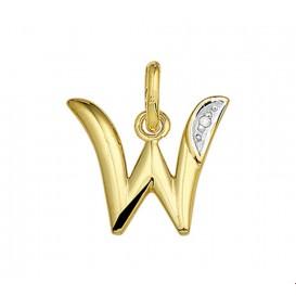 Bedel Letter W Diamant 0.005 Ct. Goud
