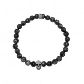 Kaliber 7KB-0068M - Heren armband met beads - schedel - Labradoriet natuursteen 6 mm - maat M (18 cm) - zwart / zilverkleurig