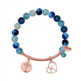 CO88 Collection 8CB-50008 - Rekarmband met natuurstenen, stalen bar en bedels - blauw agaat 8 mm - zirkonia kruis en open hart - one-size - multi blauw / rosékleurig