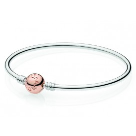 Pandora Rose Armband Bangle zilver met rosékleurige sluiting 19 cm 580713