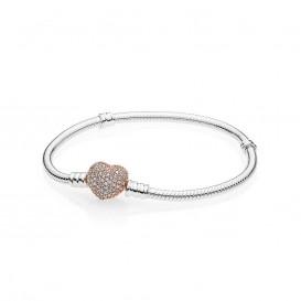 Pandora Rose 586292CZ Armband Moments Heart zilver rosekleurig 19 cm