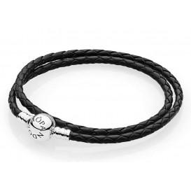 Pandora Armband zilver/leder Zwart (D2) 38 cm 590745CBK