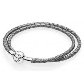 Pandora Armband zilver/leder Zilvergrijs (D3) 41 cm 590745CSG