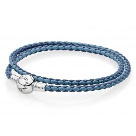 Pandora Armband dubbel zilver-leder 'Moments' blauwe mix 41 cm 590747CBMX-D3