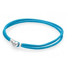 Pandora Armband zilver-textiel Turquoise 19 cm 590749CTQ-S2