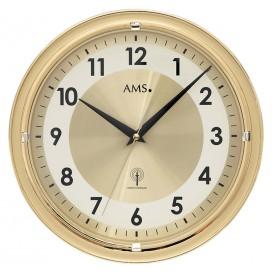 AMS Wandklok goudkleurig zendergestuurd 5946