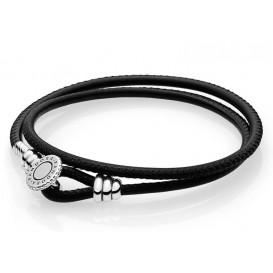 Pandora Armband Moments Double Leather Black 38 cm (D2) 597194CBK