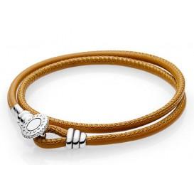 Pandora Armband Moments Double Leather Golden Tan 38 cm (D2) 597194CGT