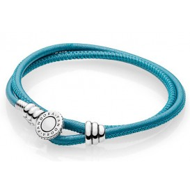 Pandora Armband Moments Double Leather Turquoise 38 cm (D2) 597194CTQ