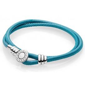 Pandora Armband Moments Double Leather Turquoise 35 cm (D1) 597194CTQ
