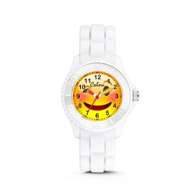 Colori Happy Smile 5-CLK075 - Kinderhorloge - siliconen band - wit - 30 mm