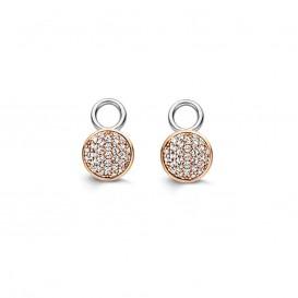 Ti Sento 9161ZR rosevergulde zilveren oorbelbedels met zirkonia