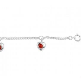 TFT Armband Zilver Hart En Lieveheersbeestje 13 - 15 cm
