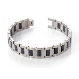 Boccia 0334-01 Armband titanium zilverkleurig-zwart 21 cm