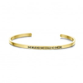 Key Moments 8KM-B00041 Stalen open bangle met tekst she believed she could so she did zirkonia one-size goudkleurig