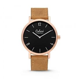 Colori - Phantom - 5-COL439 - Horloge - leren band - zand bruin - 42 mm
